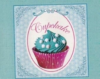 """CUP CAKE 3: coupon TWILL of cotton pattern """"cup cake"""""""