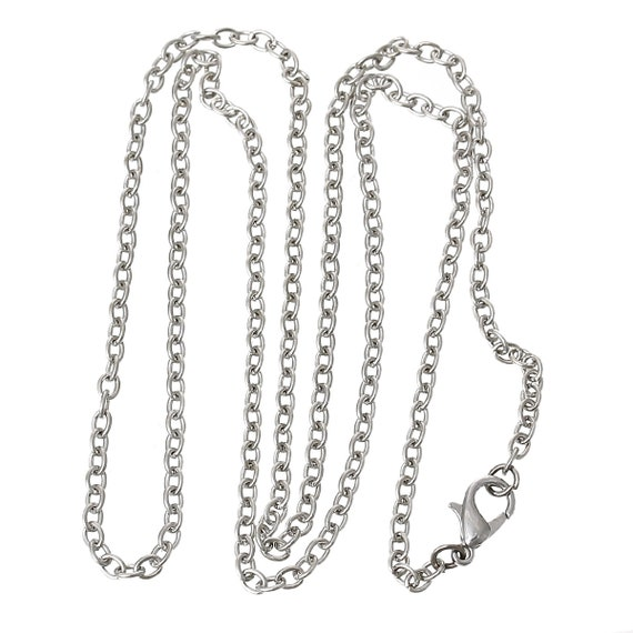 1 chain - alloy of iron - silver color - 62 cm in length