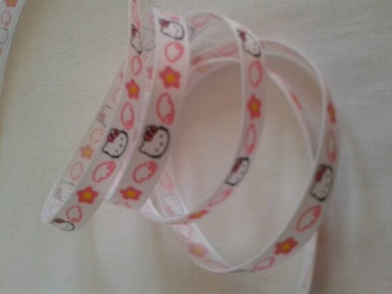 R - Ribbon grosgrain cat - 10 mm - 2 M color white and pink pattern
