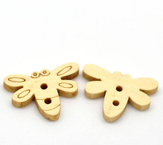 """BBN207 - 6 wooden buttons natural pattern """"Dragonfly"""""""