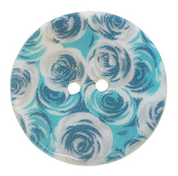 1 round buttons 30 mm mother of Pearl with flower pattern