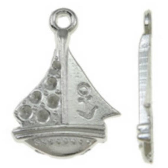 "Set of 5 charms ""Boat"" color silver size 14 x 21 mm"
