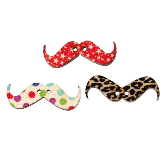 "Set of 20 buttons wooden 31 x 11 ""Mustache"" pattern"