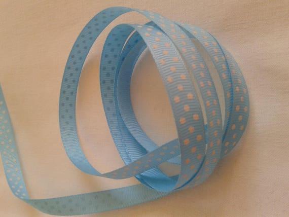 R-light blue satin ribbon has white dots - 10 mm - 2 M