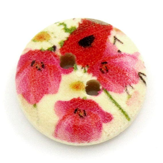 BBR15229 - 8 buttons round 15 MM wooden with flower pattern