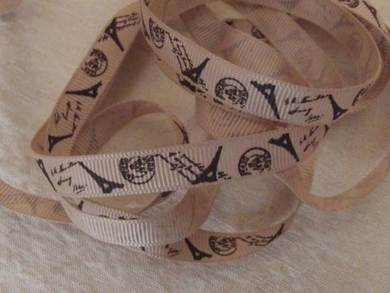 A31 - Eiffel tower beige - 10 mm - 2 M grosgrain Ribbon