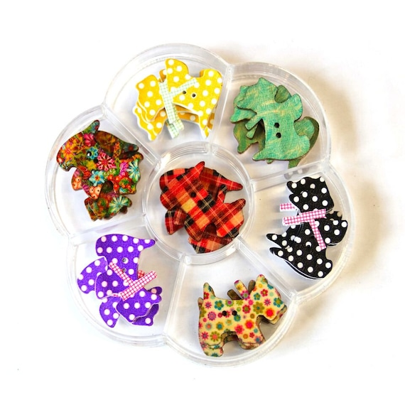 dog scottish - assorted wood buttons