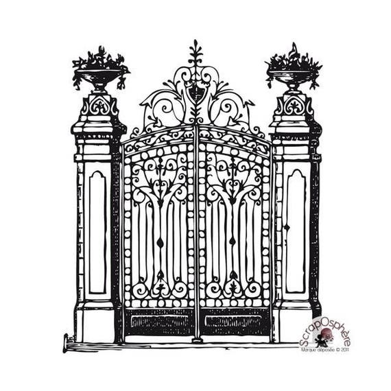 SCR77 scraposphere antique gate rubber stamp