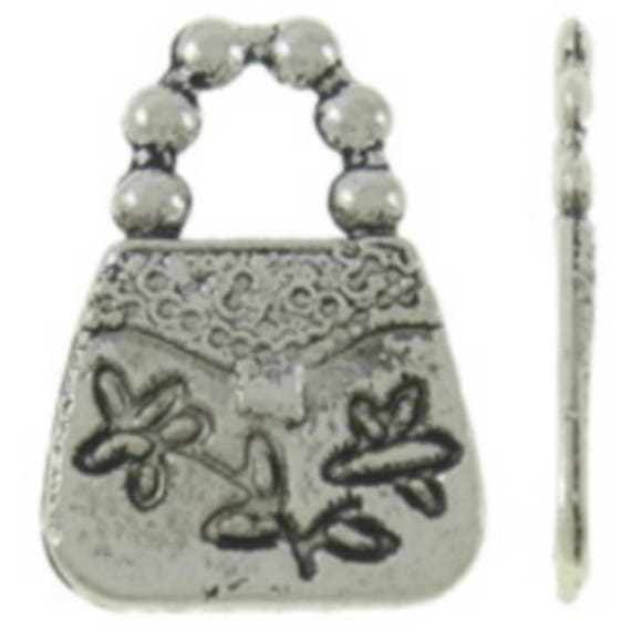 """Set of 5 charms """"Handbag"""" silver colored size 11 x 16 mm"""