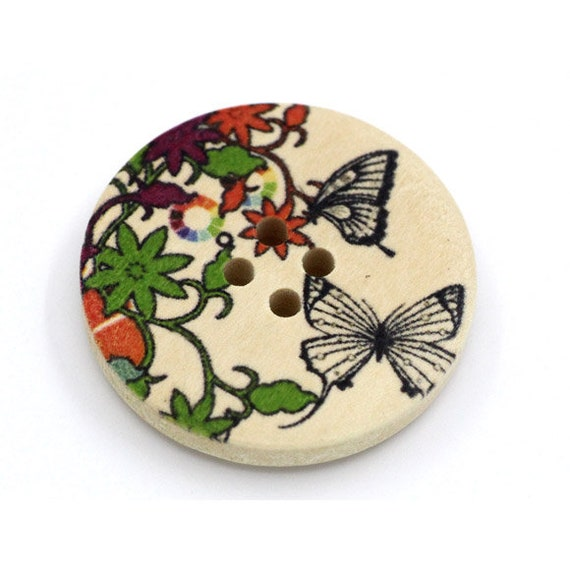 BBR30303 - 6 round buttons with colorful wooden 30 mm