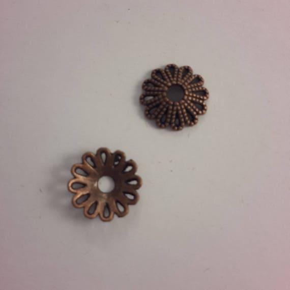 Set of 10 caps - copper color - 12 mm
