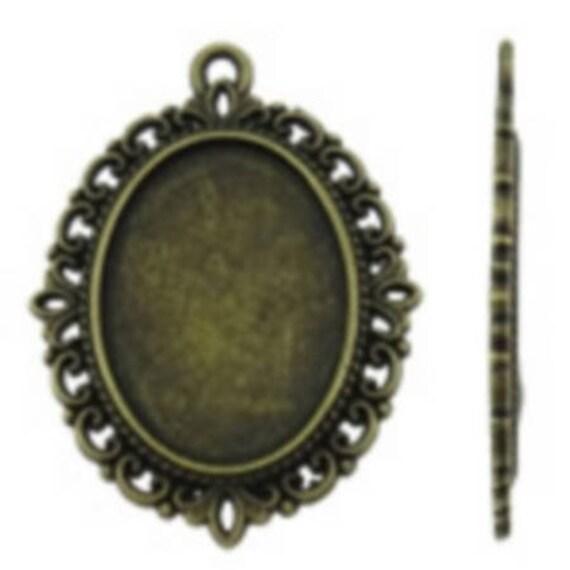 Support Cabochon retro 18 x 24 mm color bronze