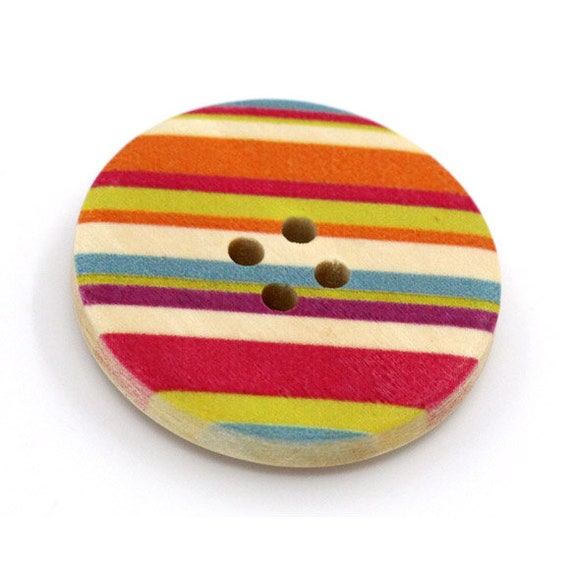 BBR30298 - 6 round buttons with colorful wooden 30 mm