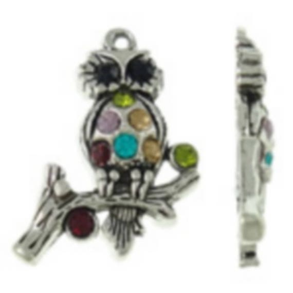 """large 1 """"OWL"""" featuring a rhinestone charm size 25 x 34 mm"""