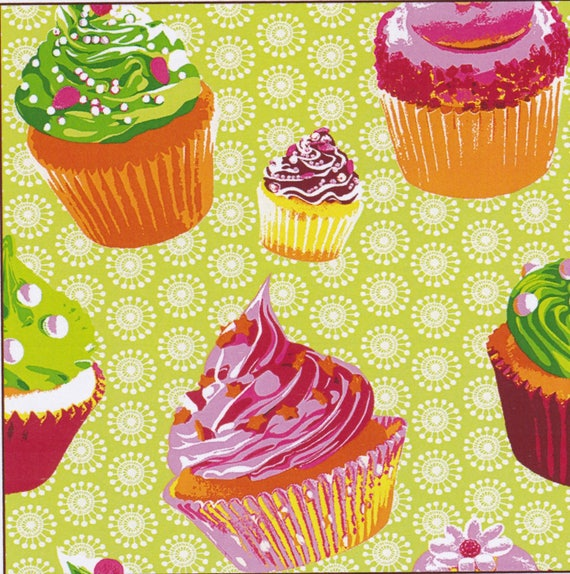 CHANTILLY pattern cup cake cotton in shades of green and multicolor, coupon 50 x 50 cm