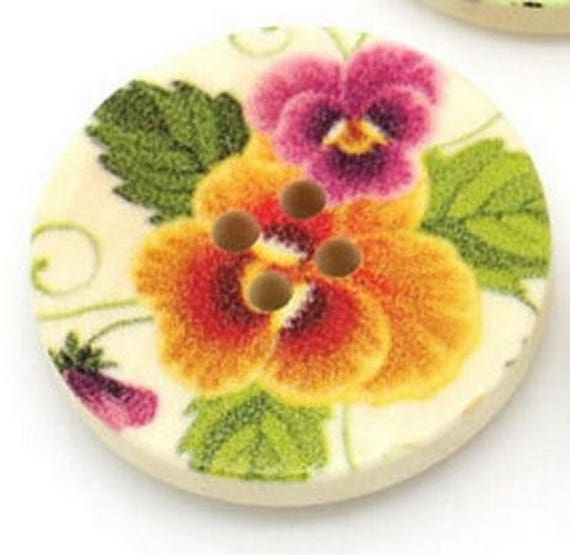 BBR30241 - 6 round buttons with colorful wooden 30 mm