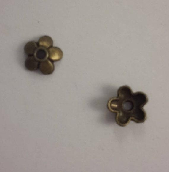 Set of 10 caps - bronze - 5 mm