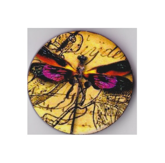 Dragonfly yellow button wood handcrafted Princess heart