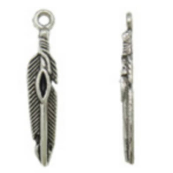 """Set of 5 charms """"Feather Indian"""" Silver size 5.5 x 29 mm"""