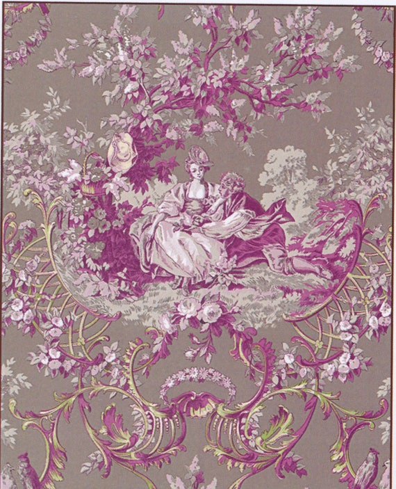 ROMANTIC toile de jouy motif fabric. cotton, in shades of pink, Brown... coupon 50x70cm