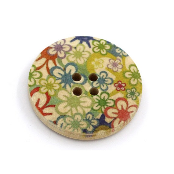 BBR30292 - 6 round buttons with colorful wooden 30 mm