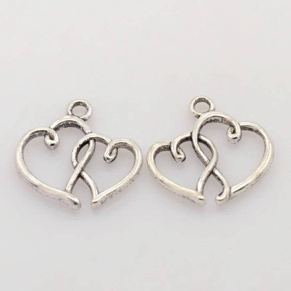 """Set of 5 """"heart"""" charm silver"""