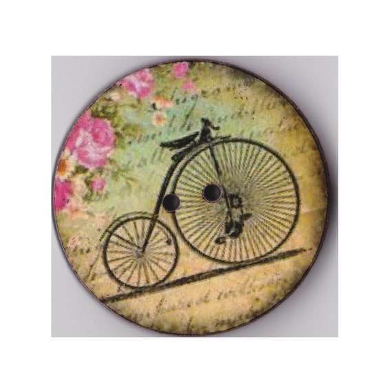 Bicycle button wood handcrafted Princess heart
