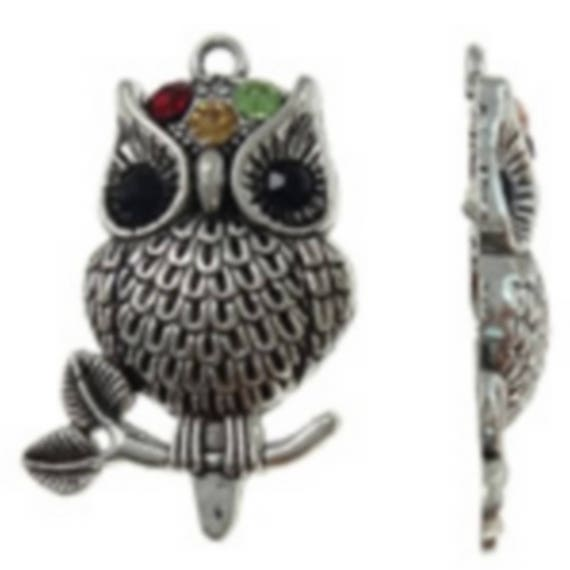 """1 large charm """"OWL"""" silver plated with Rhinestones size 27x41.5 mm"""