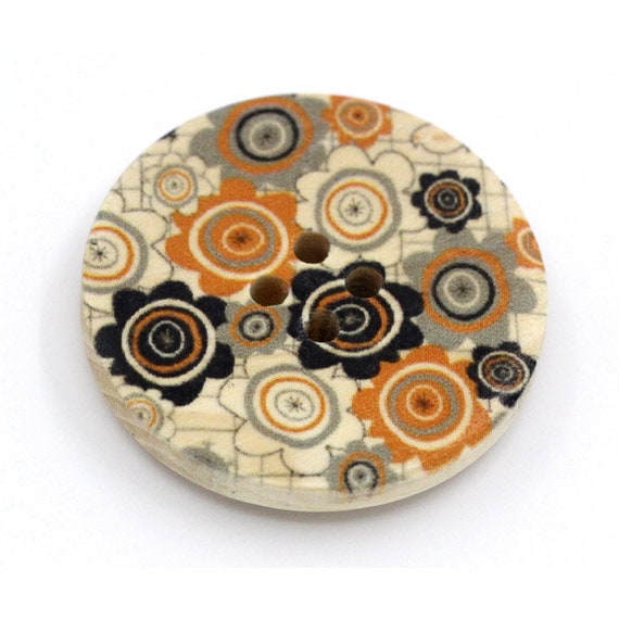 BBR30308 - 6 round buttons with colorful wooden 30 mm