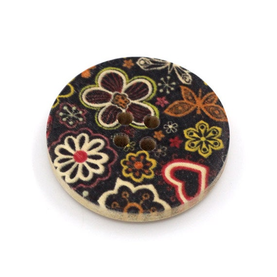 BBR30291 - 6 round buttons with colorful wooden 30 mm