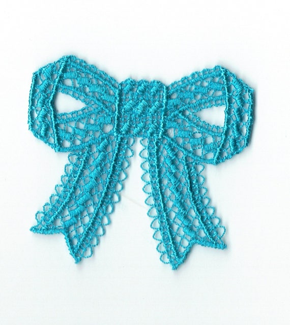 "Patch fusible trend pattern ""turquoise lace bow"""