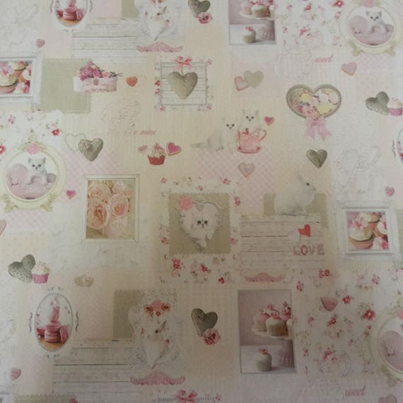 Coupon design fabric heart and cat