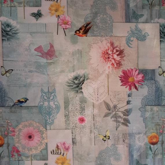 Fabric coupon - floral retro design - cotton - size 70 x 70 cm
