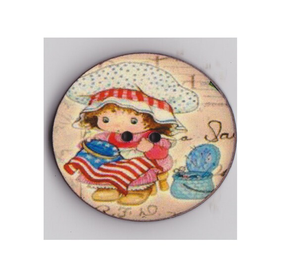 American girl button wood handcrafted Princess heart