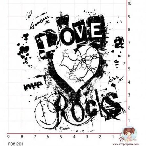 """Pattern """"heart rocks"""" rubber stamp mounted on foam"""