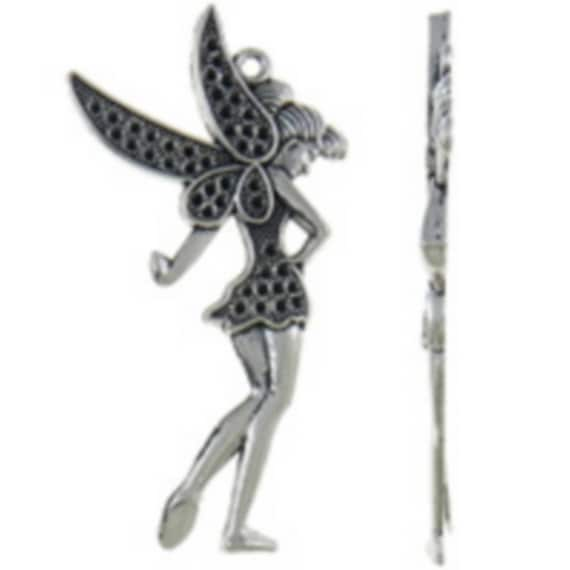 "large 1 ""Tinkerbell"" charm silver color size 37 x 70 mm"
