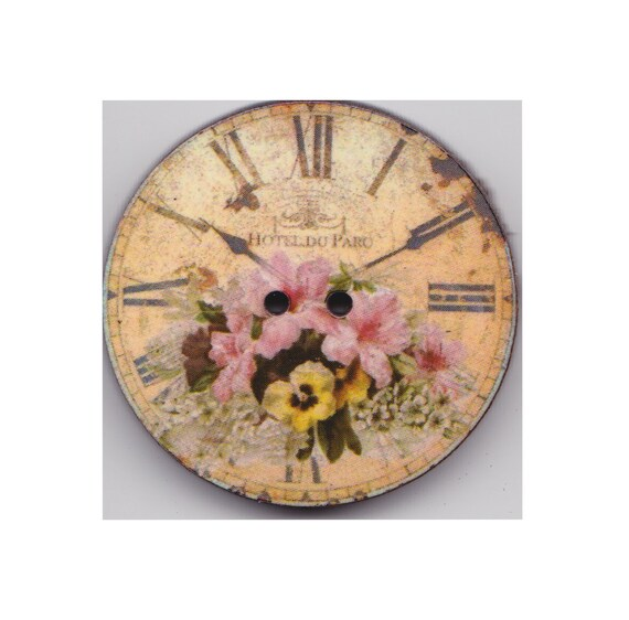 Flower button clock wood handcrafted Princess heart