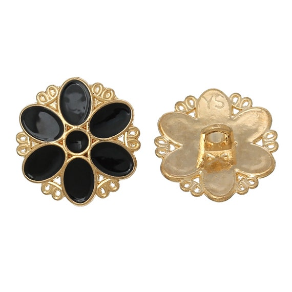 1 - flower pattern - 17 mm metal button