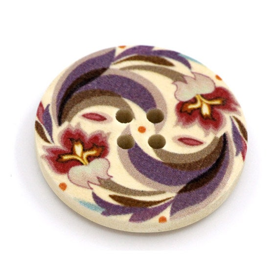 BBR30290 - 6 round buttons with colorful wooden 30 mm