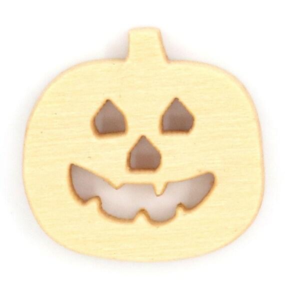 """BBN221 - 6 wooden buttons natural pattern """"pumpkin"""""""