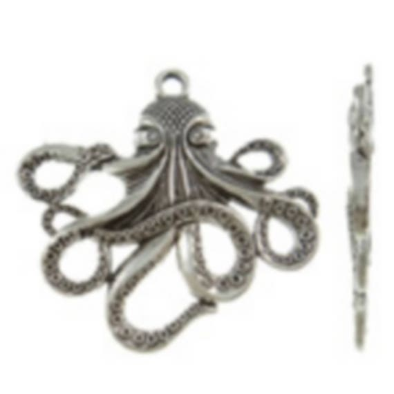 "1 large ""Octopus"" Silver charm size 57.50 x 55 mm"