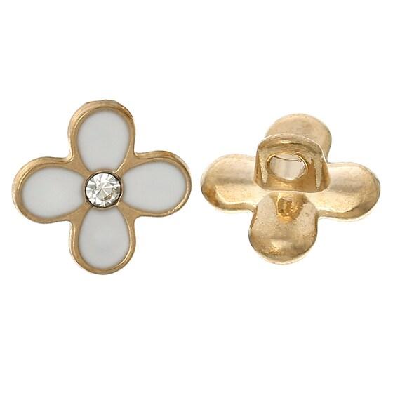 set of 2 metal - flower pattern - 12 mm buttons