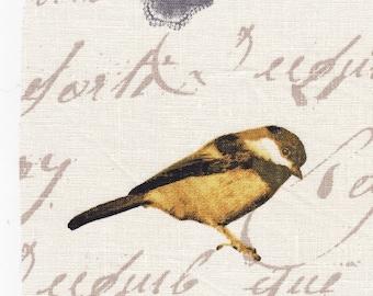 BIRDS 1: APPLIQUE BIRD MOTIF RAW LINEN