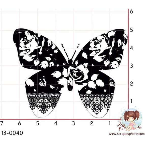 SCR88 rubber stamp to Butterfly pattern