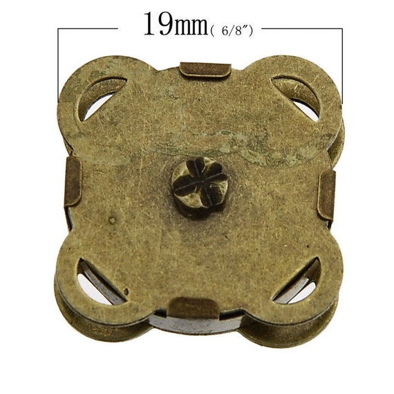 set of 5 clasps sewing - bronze - size: 19 mm