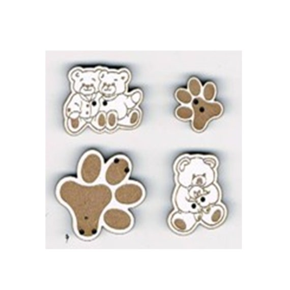 """Buttons craft Board wood motif """"Pooh"""""""