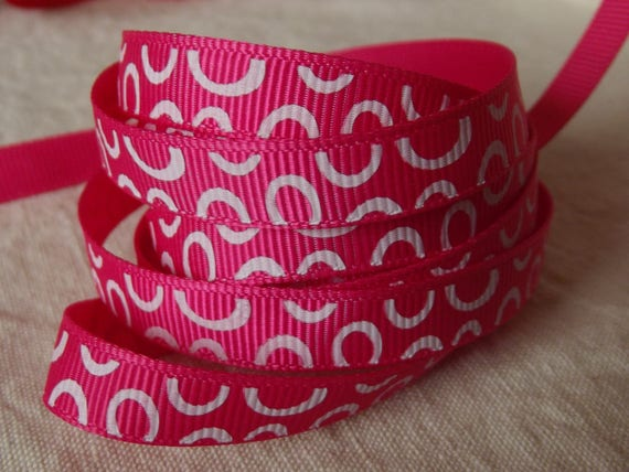 R171 - Fuchsia grosgrain Ribbon half circle white - 10 mm - 2 M