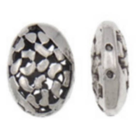 Set of 5 beads hollow metal - silver color - 13 x 18 x 7 mm