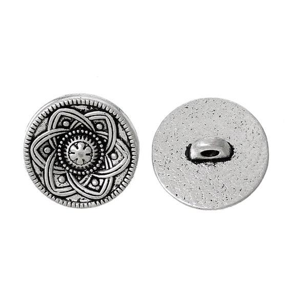 Set of 2 metal - flower pattern - 15 mm buttons