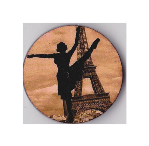 Dancer eiffel tower button wood handcrafted Princess heart